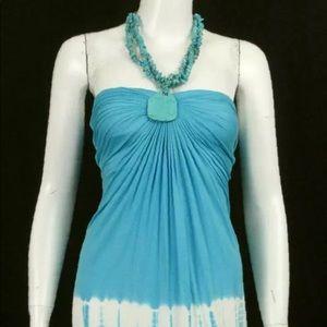 Sky Brand Ocean Die Tye Beaded Necklace Dress